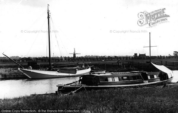 Acle, River Bure And Windmill c.1950