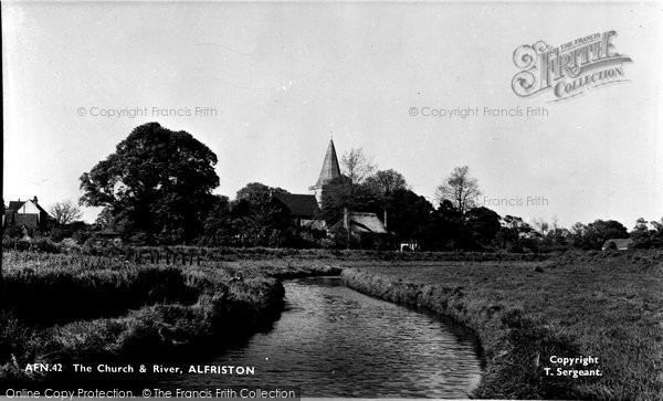 Alfriston, St Andrew's Church And River Cuckmere c.1960
