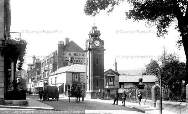 Bangor, High Street And Clock 1908