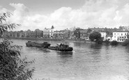 Barnes, Barge And Tug On The River Thames c.1960
