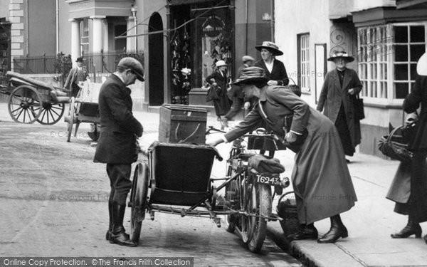 Barnstaple, Motor Cycle In Boutport Street 1919