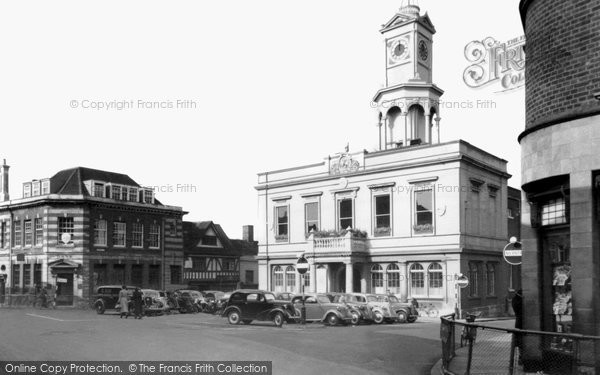 Basingstoke, Market Place And Town Hall c.1955