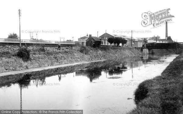 Photo of Bason Bridge, the Station and River Brue c1955