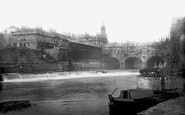 Bath, The Weir And Pulteney Bridge1890