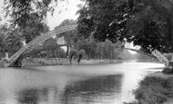 Bedford, the Great  Ouse and Suspension Bridge c1955