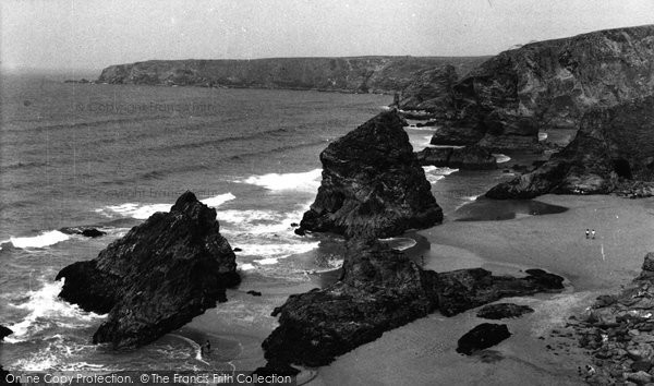 Bedruthan Steps, The Coast Looking North c.1955