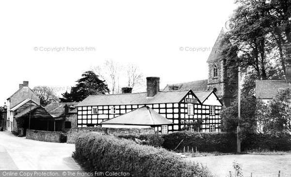 Berriew, Lion Hotel And Church Of St Beuno c.1955