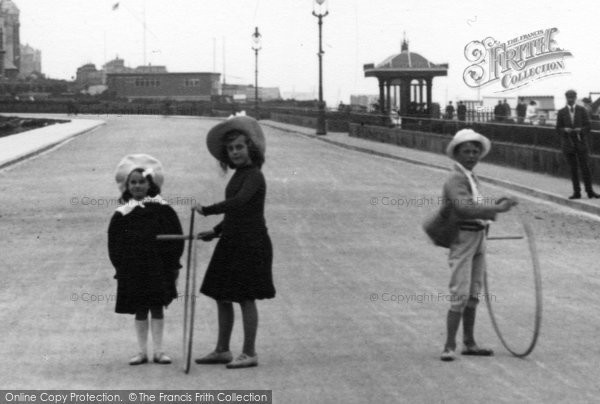 Bexhill On Sea, Children Playing With Hoops 1904