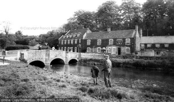 Bibury, Swan Hotel And Bridge c.1955
