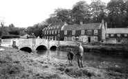 Bibury, Swan Hotel And Bridge c.1955