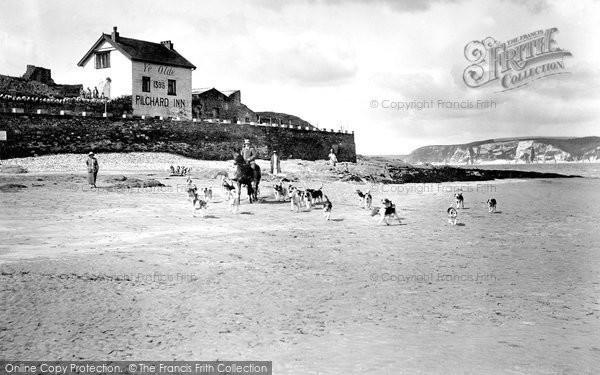 Bigbury On Sea, Foxhounds On Beach, Burgh Island 1924
