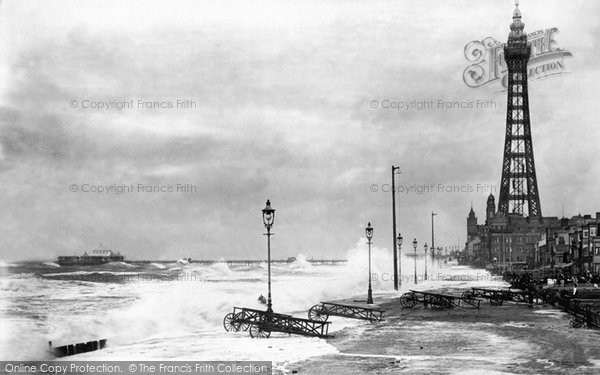 Blackpool, Rough Sea And The Tower 1896