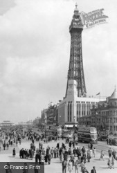 Blackpool, the Tower and Central Promenade c1955