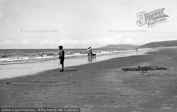 Borth, Looking At The Waves c.1955