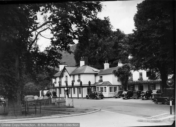 Photo of Box Hill, Burford Bridge Hotel c1955