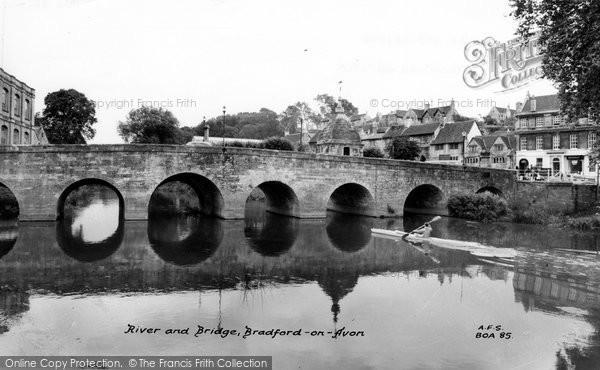 Bradford On Avon, River Avon And Bridge c.1955