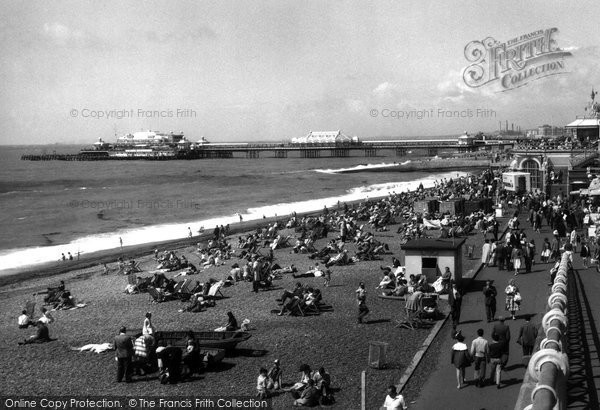 Brighton, The Beach And West Pier c.1955