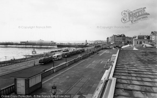 Brighton, The Piers And Aquarium c.1955