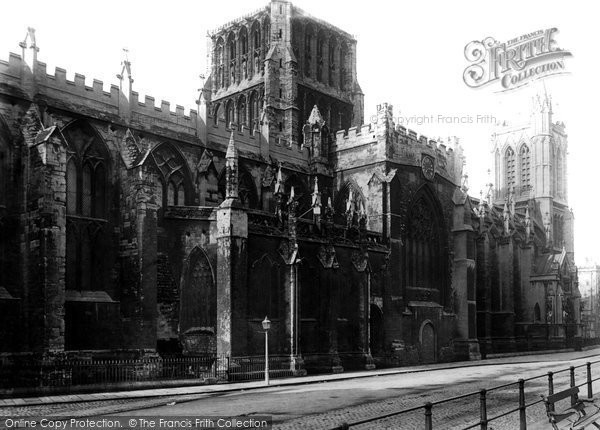 Bristol, Cathedral From College Green 1890
