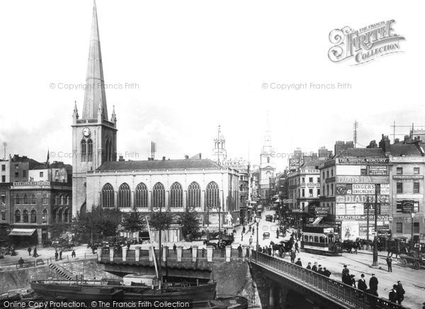 Photo of Bristol, the Bridge and the Church of St Nicholas 1901