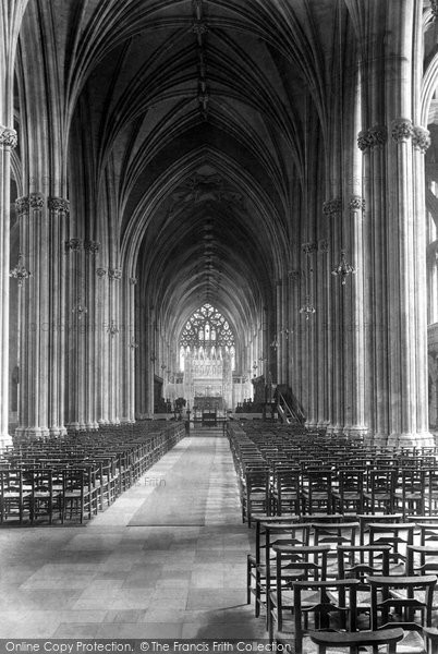 Bristol, The Cathedral, The Nave Looking East 1900