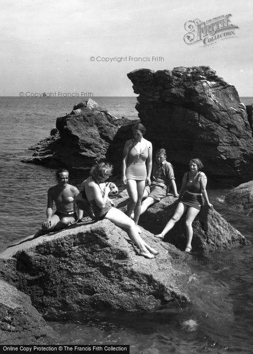 Brixham, Bathers At The Rocks Bathing Place c.1939