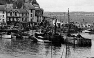 Brixham, Moored Boats In The Harbour 1951