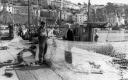 Brixham, Repairing Nets At The Harbour 1966