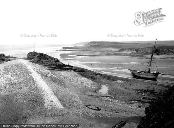 Bude, Breakwater & Chapel Rock From Efford Cottage c.1872