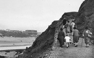 Bude, Ladies On The Path From The Breakwater 1928