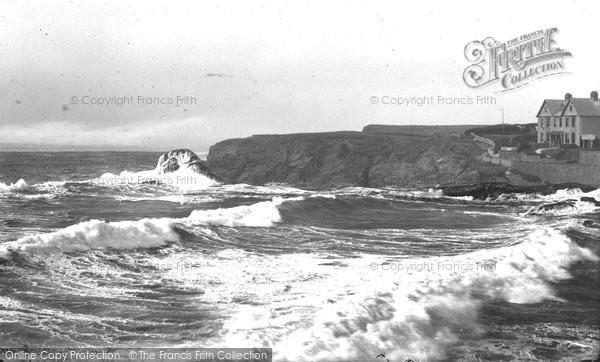 Bude, Rough Sea At Maer Beach 1929