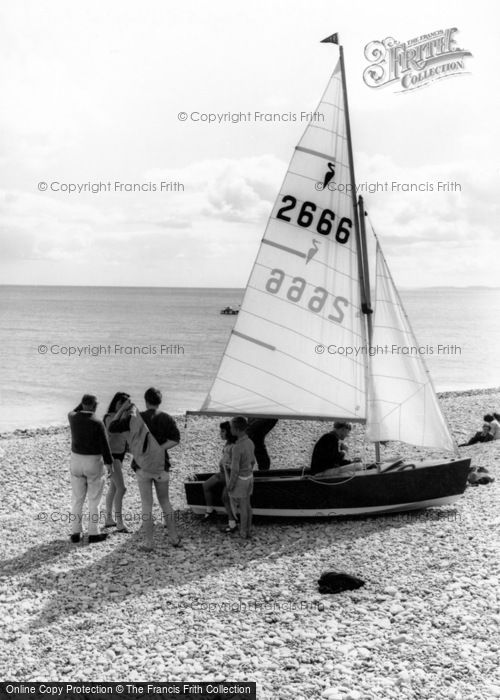 Budleigh Salterton, Sailing Boat On The Beach c.1960