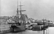 Burghead, Ship In The Harbour c.1900