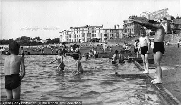 Burnham On Sea, The Paddling Pool c.1955