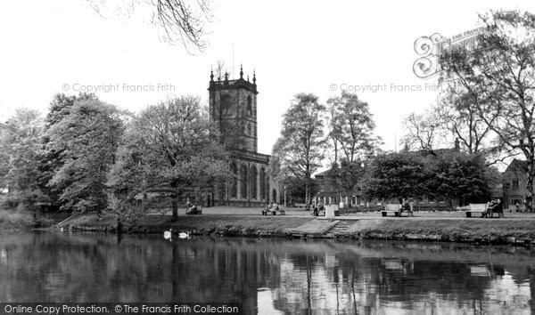 Burton On Trent, The River Trent And St Modwen's Church c.1965
