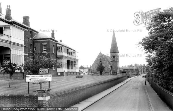 Bury St Edmunds, The Hospital And St Peter's Church c.1965