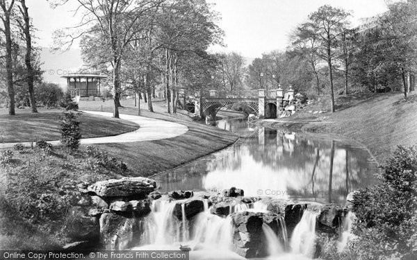 Buxton, Pavilion Gardens, Bandstand And River Wye c.1871