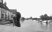 Ely, River Ouse and the Cutter Inn c1955