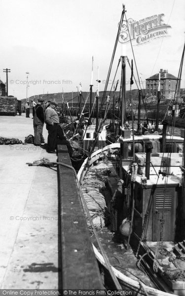Eyemouth, Fishing Boats At The Quayside c.1960