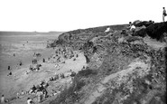 Hayle, The Beach And Cliffs Showing Godrevy Lighthouse 1927