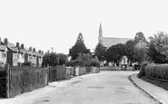 Hucclecote, Larkhay Road and Church of St Philip and St James c1955