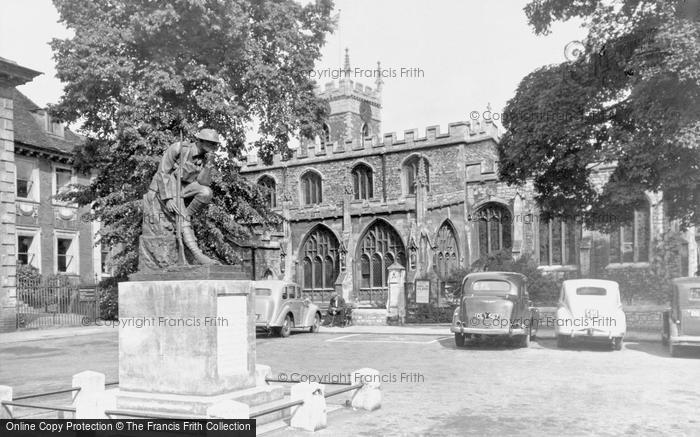 Huntingdon, All Saints Church And War Memorial c.1955