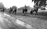 Newmarket, Racehorses Exercising c.1955