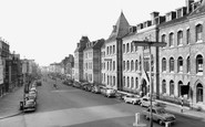 Northampton, Abington Street and Notre Dame High School c1955