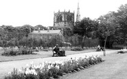 Ormskirk, Coronation Park And The Parish Church c.1955