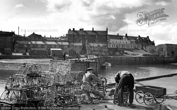 Seahouses, Mending The Lobster Pots c.1965