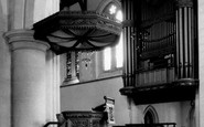 Swansea, Pulpit and Organ, St Mary's Church c1965