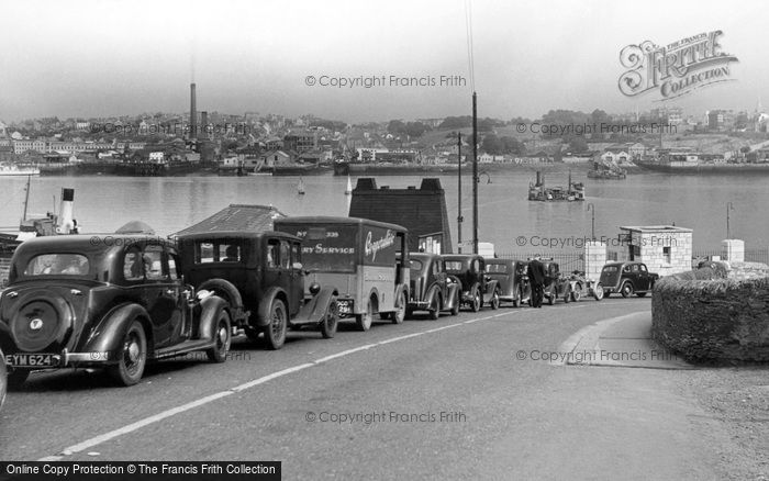 Torpoint, Queue For The Ferry c.1955