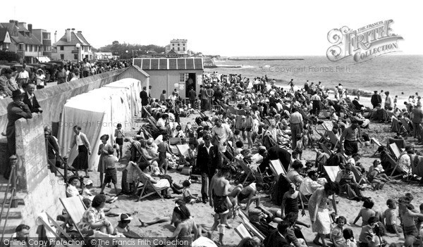 Photo of Walton On The Naze, the Beach c1955