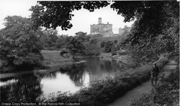 Warkworth, Mill Walk And The Castle c.1955